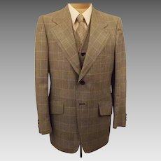 Vintage 70's Men's Gray Glen Check 3 pc Suit