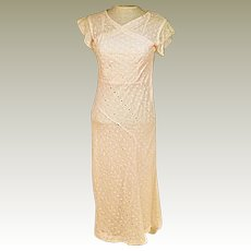 30s Vintage Handmade Pink Evening Dress or Party Dress