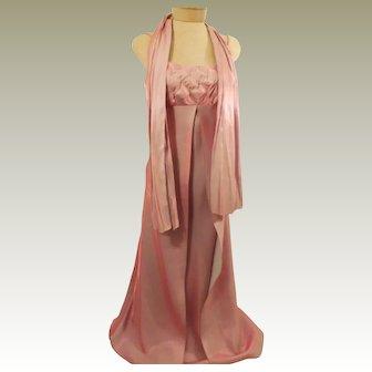 Vintage Spaghetti Strap Evening Dress - Pink Metallic Shimmer Size 4