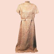 50s Handmade Pink Brocade Evening Dress