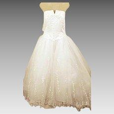 Michaelangelo 80s Vintage Strapless Princess Wedding Dress Size 16