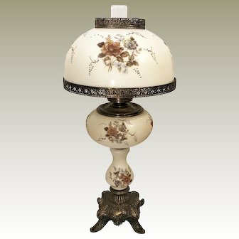 60's Vintage Hand Painted Cream Hurricane Lamp - Brass Table Lamp