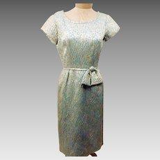 50's Vintage Handmade Green Brocade Evening Dress