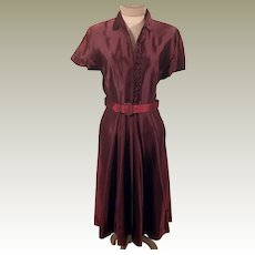 40's Silk Maroon Evening Dress by House of Kunel