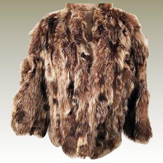 60's Natural Long Hair Brown Fox Fur Coat