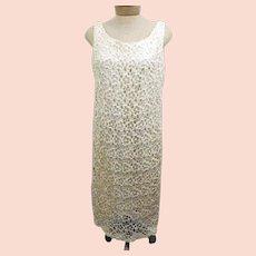 70s Handmade Crochet Ivory Evening Party Dress
