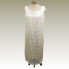 70s Vintage Handmade Crochet Ivory Evening Party Dress