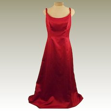 Vintage Bill Levkoff Red Sleeveless Evening Gown Ball Gown