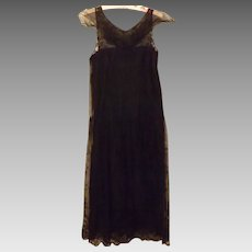 1920's Black Satin Lace Flapper Dress