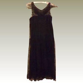 20's Dress 20's Vintage Black Flapper Dress Satin Lace Size 2