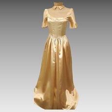 1930s Liquid Satin Gold Evening Gown