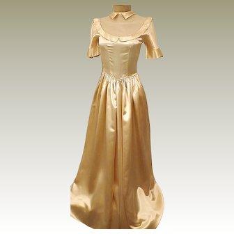 Vintage 1930s Gold Liquid Satin Wedding Dress Size 4 Evening Dress