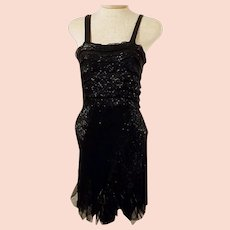 30s Black Beaded Flapper Cocktail Party Dress