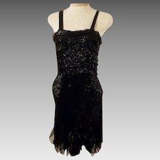 30s Vintage Black Flapper Cocktail Party Dress