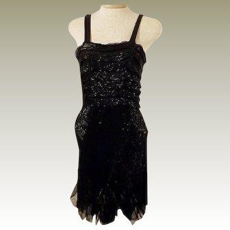 30s Vintage Black Flapper Cocktail Party Dress Size 2