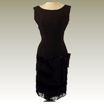 50s Maggi Stover Black Cocktail Party Dress Size 8