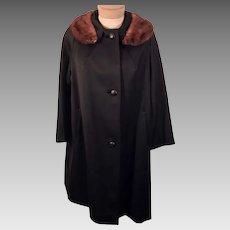 50's Mink Fur Trimmed Collar Black Overcoat