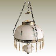 Vintage Hand Painted Crystal Prism Hanging Hurricane Oil Lamp