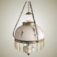 Hand Painted Crystal Prism Hanging Hurricane Oil Lamp