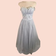 70s Handmade Pleated Tulle Mesh Party Dress