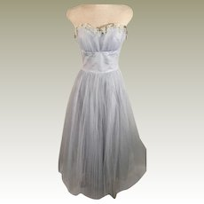 Vintage 70s Handmade Pleated Tulle Mesh Party Dress