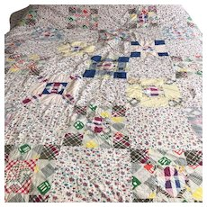 30s Hand Sewn  Nine Patch Nine Block Patchwork Quilt Full Size