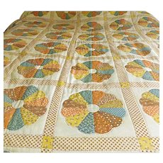 Vintage 40s Hand Sewn Dresden Plate Quilt Full Size