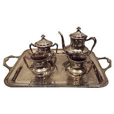 40's  F B Rogers Silver Plate Tea Set with Butler Tray