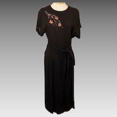 40's Vintage Lenbarry Black Short Sleeve Evening Dress Size 6