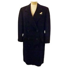60s Women's Blue Cashmere Overcoat