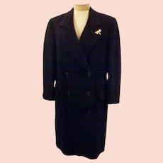 60s Women's Blue Cashmere Overcoat