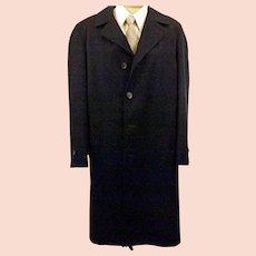60's Men's Botany 500 Dark Blue Overcoat