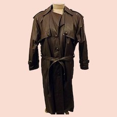 80's Men's Brown Leather Trench Coat