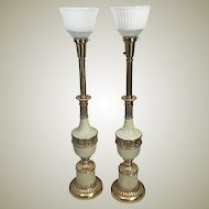 Pair of 60's Solid Brass Torchiere Lamps w Milk Glass Diffuser