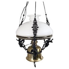 Kosmos Brenner Brass Hanging Oil Lamp w Iron Cherubs