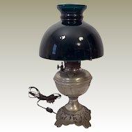 1883 Plume Atwood Nickel Hurricane Oil Lamp Green Globe