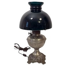 1883 Plume Atwood Nickel Hurricane Oil Lamp Green Globe