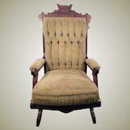 30's Rocking Chair Solid Mahogany with Velour Seat