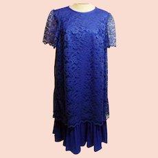 70s Mario Gilberti Designer Blue Evening Dress