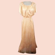 70s  Peach Pleated Evening Party Dress