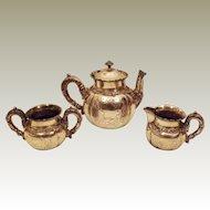 1880'S Victorian Silver Plate Tea Pot Sugar Bowl Creamer Set By Riverton Silver Co