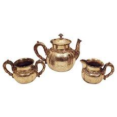 1880'S Victorian Silver Plate Tea Pot Sugar Bowl Creamer Set