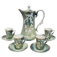 Victorian Hand Painted Gold R S Prussia Chocolate Pot Set