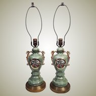 Rare Pair Vintage 50's Ulrich Style Green Opalescent Table Lamps