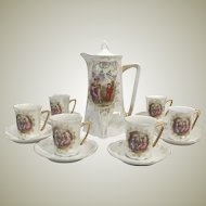 1905 Greiner Herda Opalescent Bavarian Chocolate Pot Set