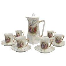 1905 Greiner Herda Opalescent Bavarian Chocolate Pot Set