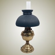 Brass Rochester Oil Lamp w Ribbed Green Milk Glass Globe - Electrified