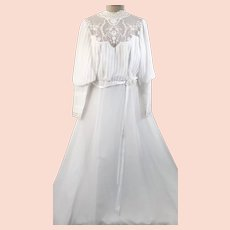 70's Embroidered Mesh A Line Bishop Sleeve Wedding Dress