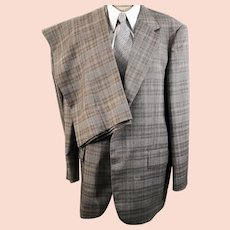 70's Men's Botany 500 Brown Check Three Piece Suit