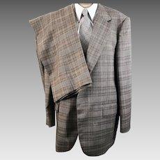 70's Men's Botany 500 Brown Check Three Piece Suit
